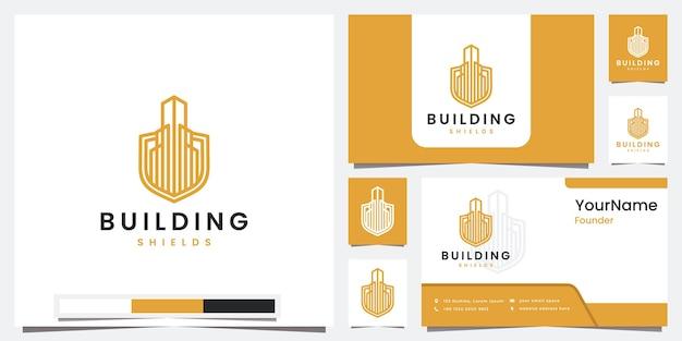 Stel logo-bouwschild in met inspiratie voor kleurconceptlogo-ontwerp