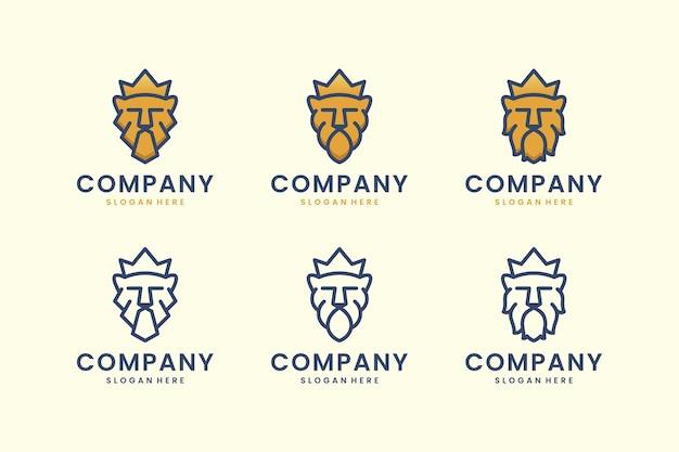 Stel logo leeuwenkoning met kroonlijn kunst concept logo ontwerp inspiratie