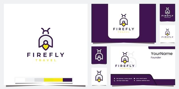 Stel logo-reizen firefly in met inspiratie voor logo-ontwerp in kleurversie