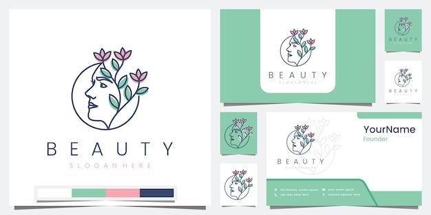 Stel logo schoonheidssalon spa in met lijnconcept logo-ontwerpinspiratie
