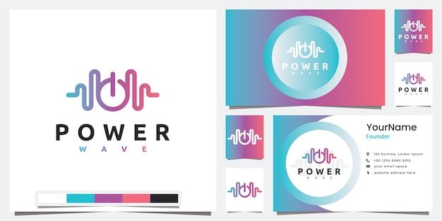 Stel logo technologie power wave lijn art stijl logo ontwerp inspiratie