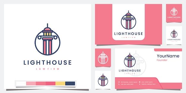 Stel logo vuurtoren advocatenkantoor met kleurversie logo-ontwerpinspiratie