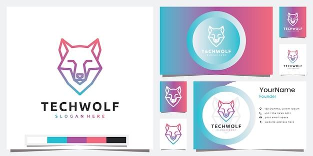 Stel logotechnologie in met hoofdlogo-ontwerpinspiratie in de stijl van de wolflijn