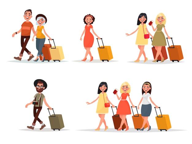 Stel lopende vliegtuigpassagiers in. man, vrouw, vrienden met bagage op een geïsoleerde achtergrond.