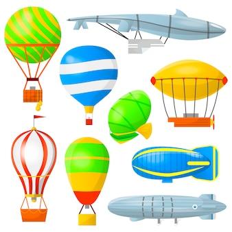 Stel luchtballonnen en luchtschepen in.