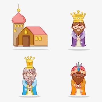 Stel magiërs koningen met kroon en huis