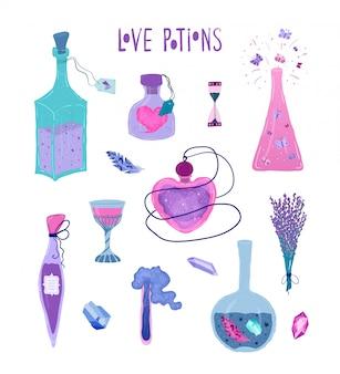 Stel magische flessen liefdesdrankje op wit wordt geïsoleerd