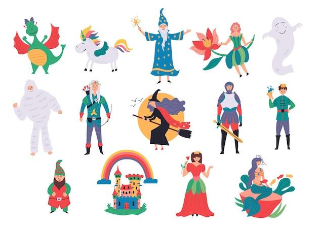 Stel magische karakters sprookjesachtig in