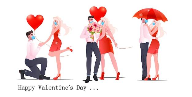 Stel man vrouw in maskers staan samen paar vieren valentijnsdag coronavirus quarantaine concept volledige lengte horizontaal