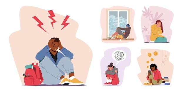 Stel mannelijk vrouwelijk personage in bij stress en depressie. depressieve mensen met verbijsterde gedachten in het achterhoofd, geestesziekte