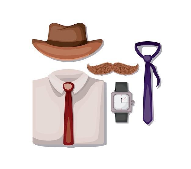 Stel mannelijke accessoires pictogrammen