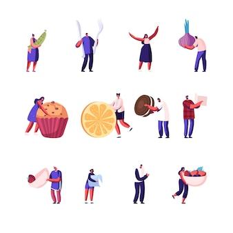 Stel mannelijke en vrouwelijke karakters vast houden verschillende soorten voedsel geïsoleerd op een witte achtergrond.