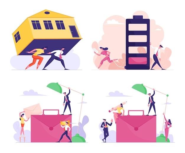 Stel mannelijke en vrouwelijke zakenmensen tekens dragen enorme huis last hypotheek