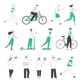 Stel mannelijke vrouwelijke karakters gezonde levensstijl rijden fiets, scooter en skateboard, marathon lopen.