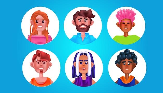 Stel mannelijke vrouwelijke personen hoofden in ronde frames schattige mannen vrouwen avatars collectie stripfiguren portretten horizontale vectorillustratie