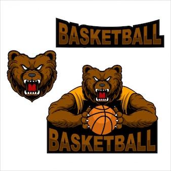 Stel mascotte logo beer basketbal