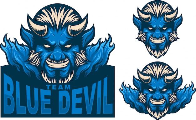 Stel mascotte-logo blauwe duivel man