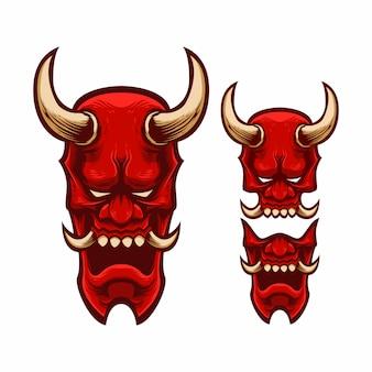 Stel mascotte logo masker japan oni