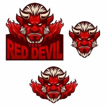 Stel mascotte-logo rode duivel man