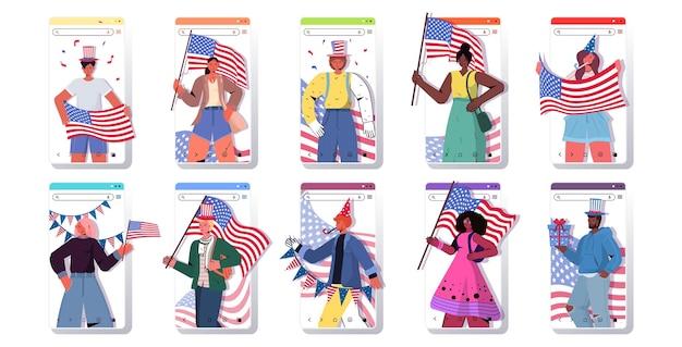 Stel mensen in met vlaggen van de vs mix race mannen vrouwen vieren, 4 juli amerikaanse onafhankelijkheidsdag smartphone schermen collectie