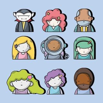 Stel mensen kawaii-avatar in met expressie