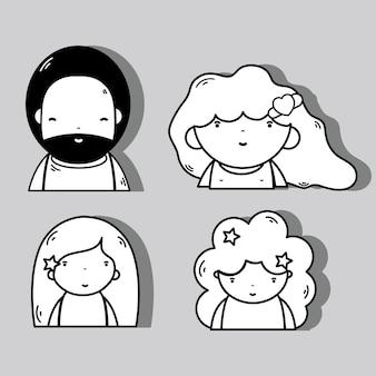Stel mensen kawaii avatar in met kapsel en expressie