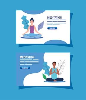 Stel mensen mediteren, concept voor yoga, meditatie, ontspanning, gezonde levensstijl in landschap