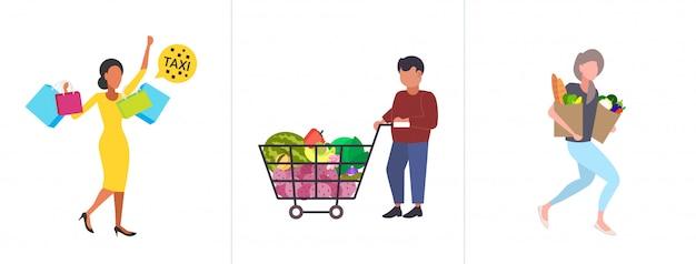 Stel mensen met aankopen en kruidenierswaren grote seizoensverkoop winkelconcepten collectie mannelijke vrouwelijke klanten met boodschappen en papieren zakken over de volledige lengte horizontaal