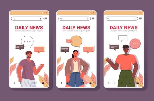 Stel mensen met praatjebellen communicatie dagelijks nieuwsconcept. smartphone schermen collectie portret kopie ruimte horizontale illustratie