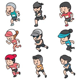 Stel mensen rennen