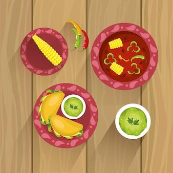 Stel mexicaans traditioneel voedsel met sausen en maïskolf