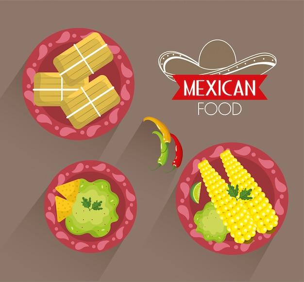 Stel mexicaans traditioneel voedsel met sausen