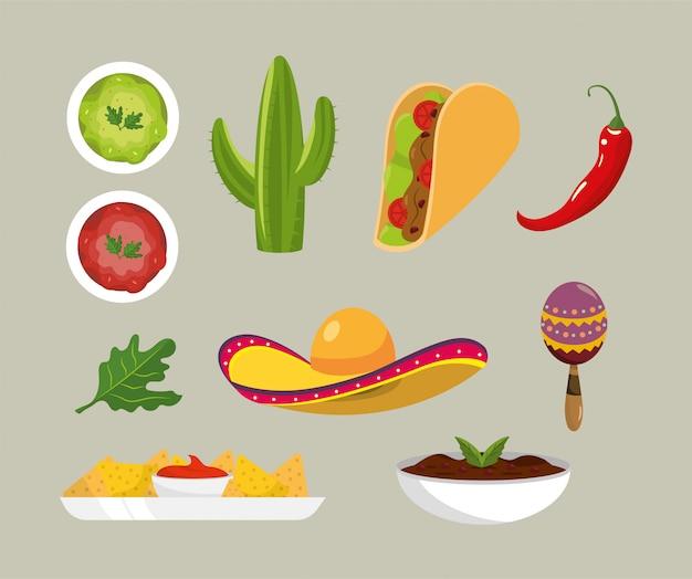Stel mexicaanse pittige sauzen en traditionele gerechten