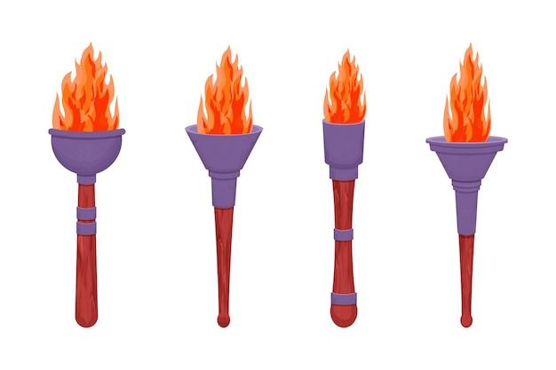 Stel middeleeuwse fakkel met vlam in cartoon stijl geïsoleerd op een witte achtergrond