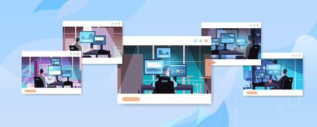 Stel mix race handelaars beursmakelaars analyseren grafieken grafieken en tarieven op computermonitoren op de werkplek in web browser windows horizontale vector illustratie