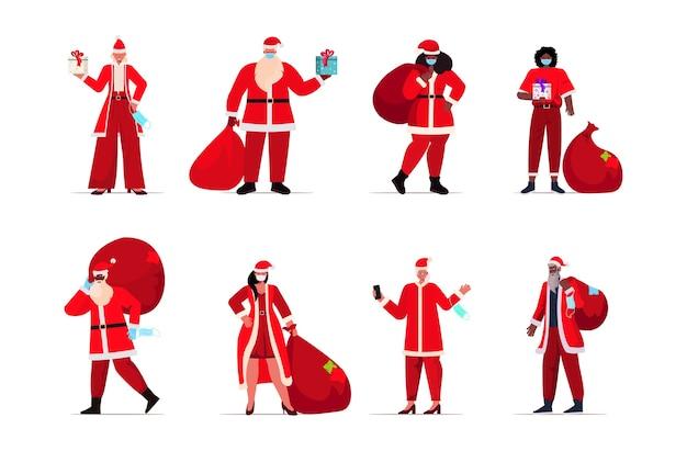 Stel mix race mensen in kerstman kostuums dragen beschermende maskers nieuwjaar kerst vakantie viering coronavirus quarantaine concept horizontale illustratie