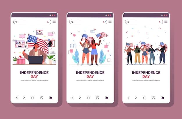 Stel mix race mensen in met vlaggen van de vs die vieren, 4 juli onafhankelijkheidsdag smartphone-schermen
