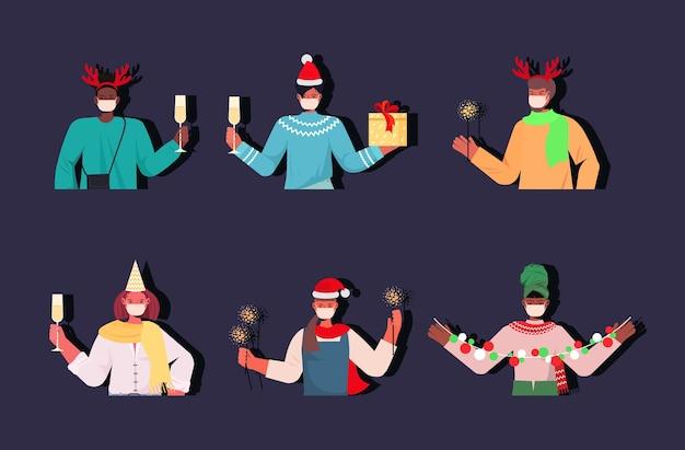 Stel mix race mensen plezier gelukkig nieuwjaar vrolijk kerstvakantie viering concept horizontale illustratie