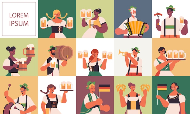 Stel mix race mensen vieren oktoberfest festival mannen vrouwen in traditionele kleding met plezier kopie ruimte
