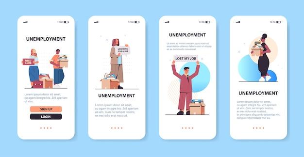 Stel mix race ondernemers houden dozen met spullen en hebben een baan nodig posters werkloosheid concept smartphone schermen collectie horizontale kopie ruimte vectorillustratie