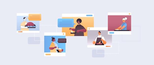 Stel mix race voedsel bloggers bereiden gerechten chef-koks in web browservensters online kookles concept portret horizontale afbeelding