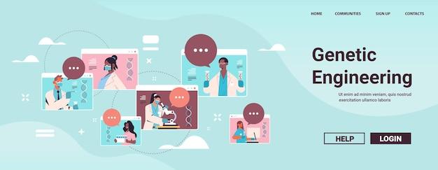 Stel mix race wetenschappers werken met dna in reageerbuizen onderzoekers maken experiment in het laboratorium dna testen genetische manipulatie diagnose