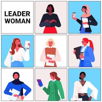 Stel mix race zakenvrouwen leider in formele kleding succesvolle zakelijke vrouwen leiderschap beste baas concept vrouwelijke kantoorpersoneel portretten collectie vector illustratie