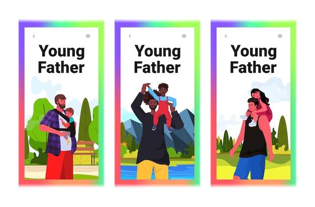 Stel mix ras vaders spelen met kleine kinderen ouderschap vaderschap concept vaders wandelen buiten