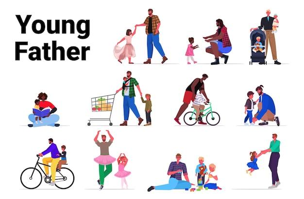 Stel mix ras vaders tijd doorbrengen met kleine kinderen ouderschap vaderschap concept volledige lengte horizontaal