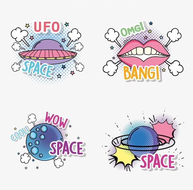 Stel mode ufo in met planeet en mond patch
