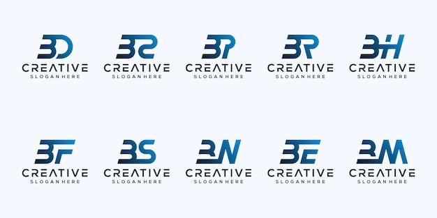 Stel modern letter b logo-ontwerp in