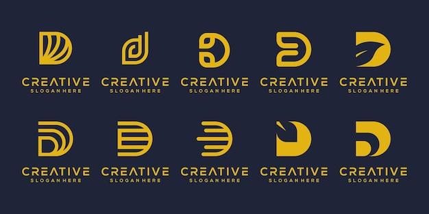Stel modern letter d-logo-ontwerp in
