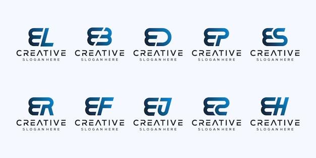 Stel modern letter e-logo-ontwerp in