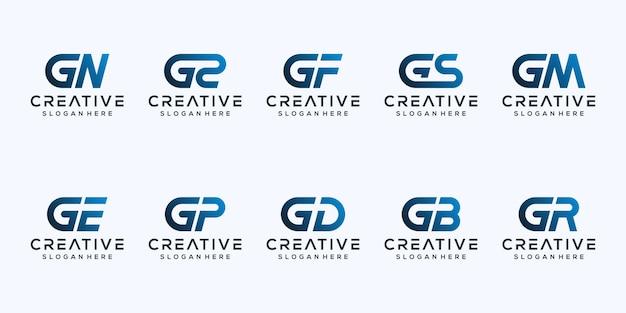 Stel modern letter g logo-ontwerp in